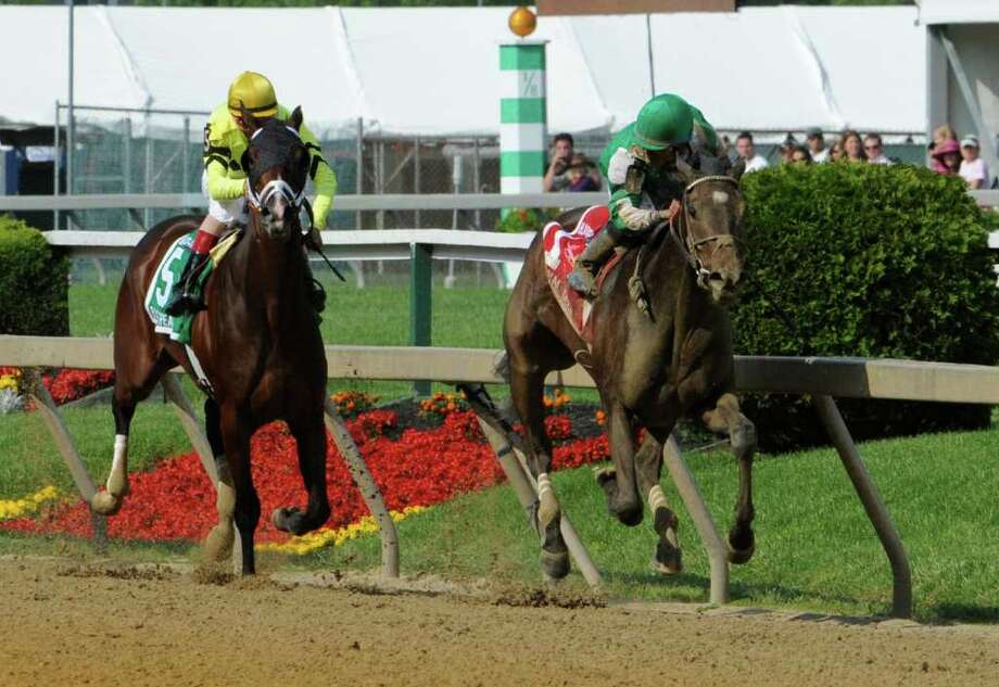 Royal Delta ridden by jockey Jose Lezcano runs away from the field to win the 87th running of The Black-Eyed Susan the premier race for fillies at the historic Pimlico Race Track in Baltimore, MD, May 20, 2011    (Skip Dickstein / Times Union) Photo: SKIP DICKSTEIN