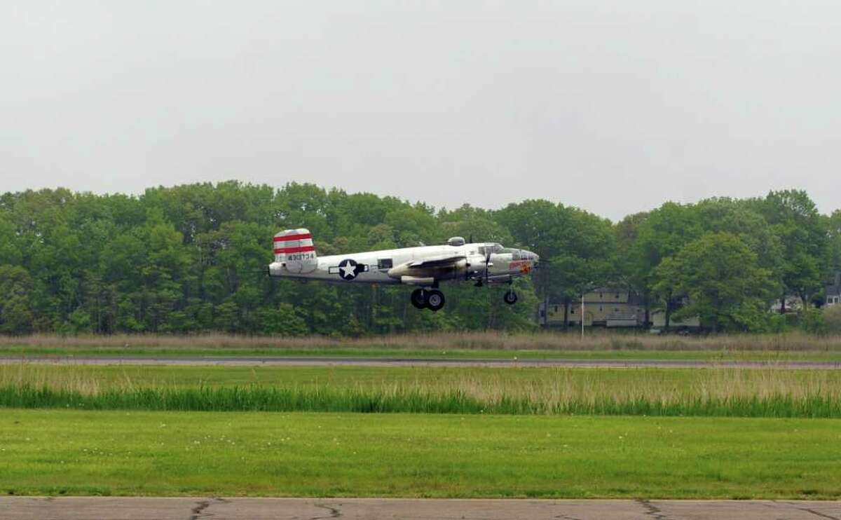 The B-25 Panchito takes off during Wings and Wheels 2011; British Invasion Saturday, May 21, 2011 at Igor I. Sikorsky Memorial Airport in Stratford, Conn.