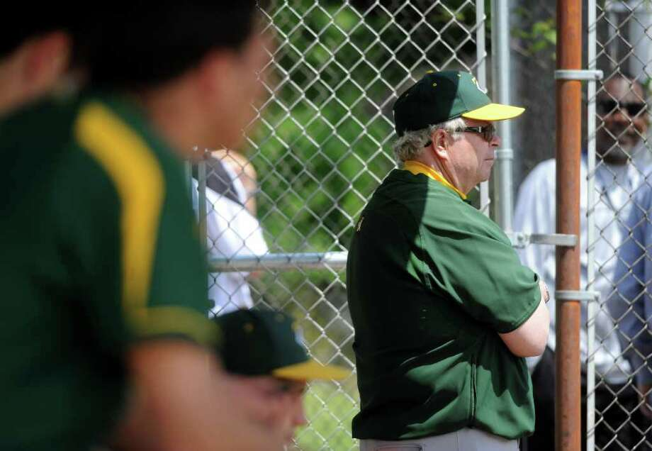 Trinity Catholic's head coach Tracy Nichols against Stamford High School in baseball action in Stamford, Conn. on Saturday May 21, 2011. Photo: Kathleen O'Rourke / Stamford Advocate