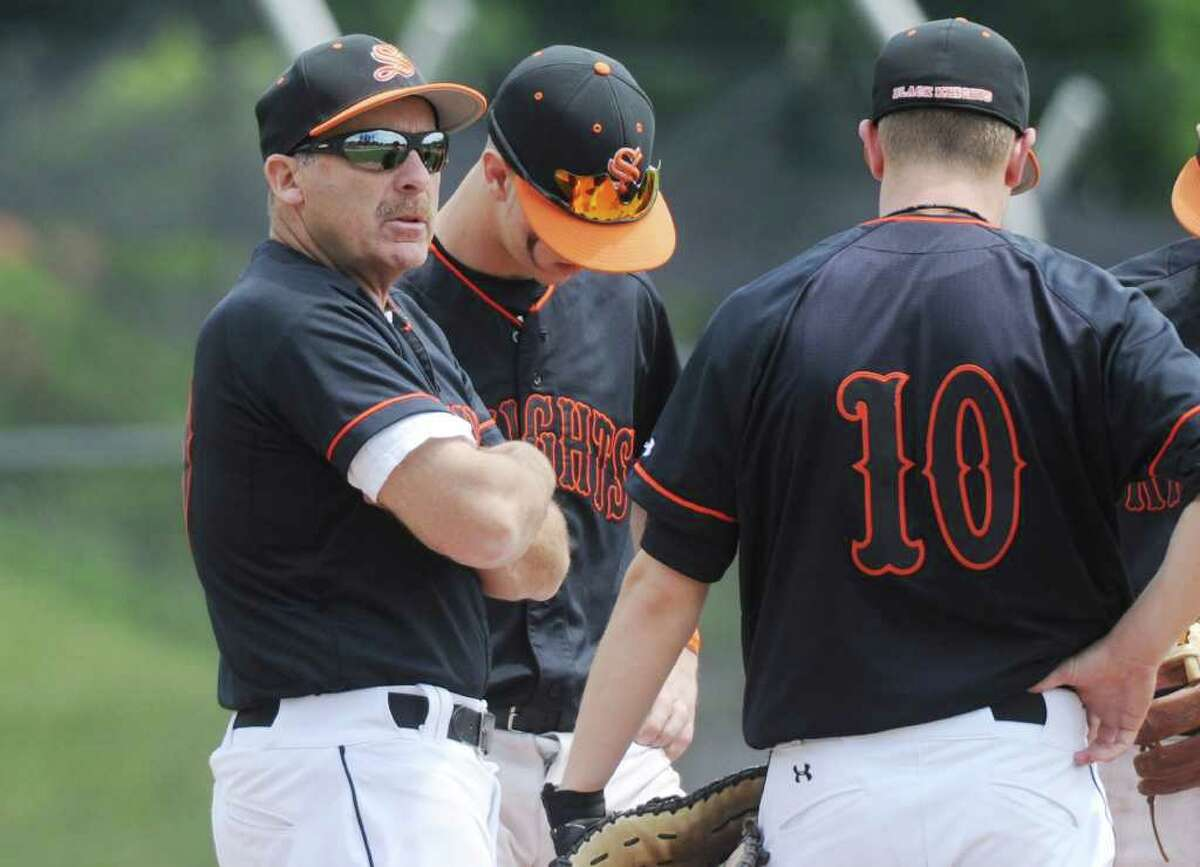 Stamford High's head coach Fred Kelley against Trinity Catholic in baseball action in Stamford, Conn. on Saturday May 21, 2011.