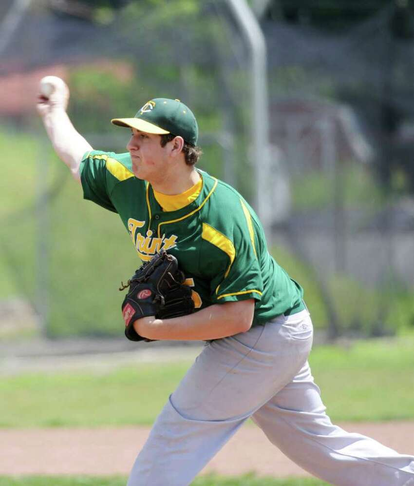 Trinity Catholic's Chris Neuschler pitches against Stamford High in baseball action in Stamford, Conn. on Saturday May 21, 2011.