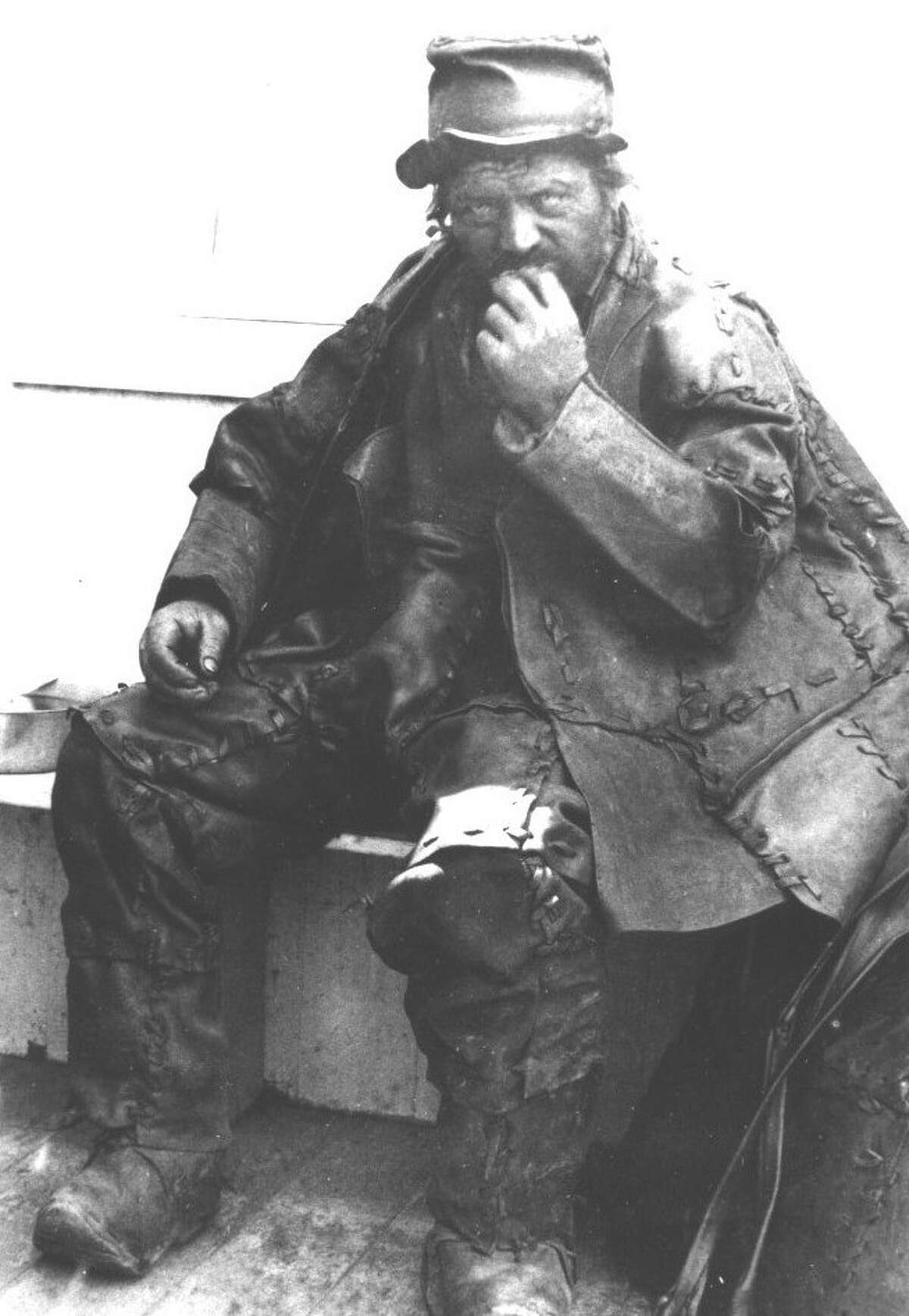 Undated photo of the Leather Man, an unidentified vagabond who trekked through Connecticut and New York state in the late 1800s.