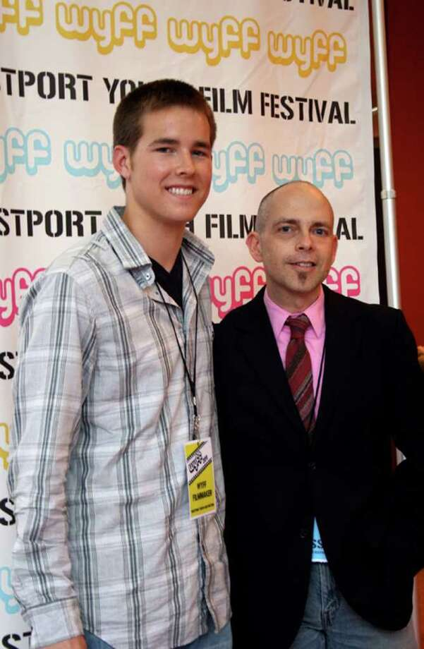 Chris Finn, left, student filmmaker and Stephen Honicki, media arts teacher. (Ray Felix) Photo: Unknown