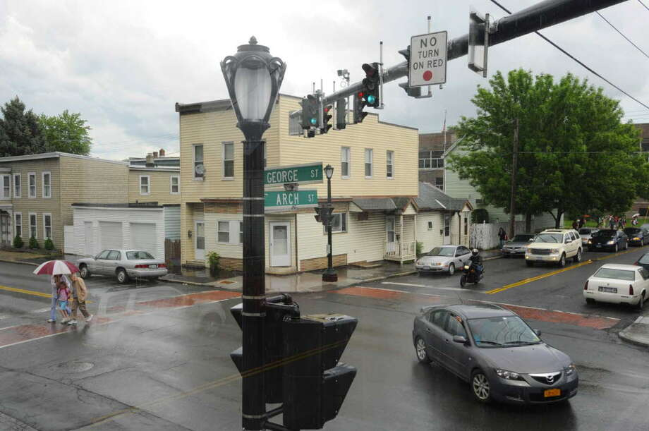The new light at George and Arch streets will soon be a four-way stop again. Michael P. Farrell/Times Union