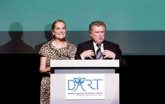 Kathie Lee Gifford and Regis Philbin appear on stage before Frankie Valli and the Four Seasons perform at the Dana's Angels Research Trust Benefit Gala & Concert at The Palace Theatre in Stamford, Conn. on Friday May 20, 2011. Photo: Kathleen O'Rourke / Stamford Advocate