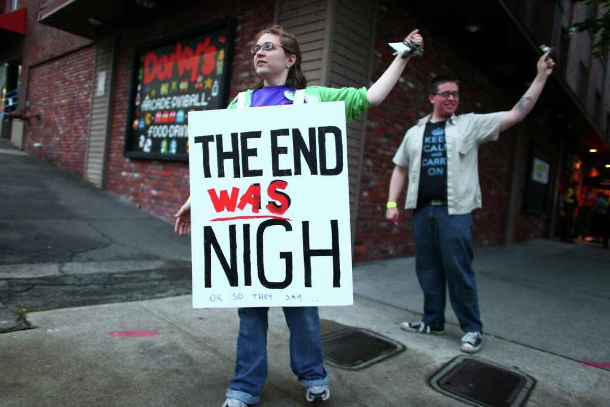 Becky Friedman stands outside a rapture party at Dorky's Arcade.