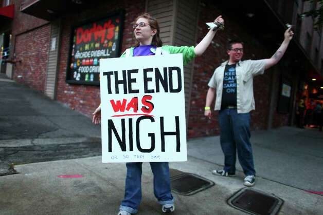 Becky Friedman stands outside a rapture party on Saturday, May 21, 2011 at Dorky's Arcade in Tacoma, Wash. Groups of local atheists gathered at the arcade in Tacoma on the day that radio minister Harold Camping predicted would be the beginning of rapture. Photo: JOSHUA TRUJILLO / SEATTLEPI.COM