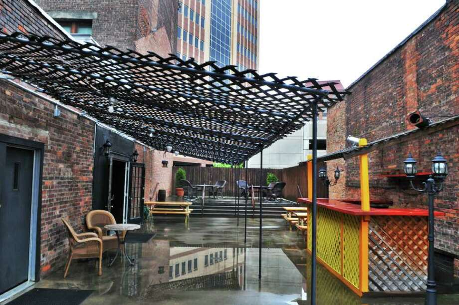 The Beer Garden on the patio of the City Beer Hall, a new multilevel entertainment space in Albany Tuesday morning May 17, 2011. (John Carl D'Annibale / Times Union) Photo: John Carl D'Annibale / 00013054A