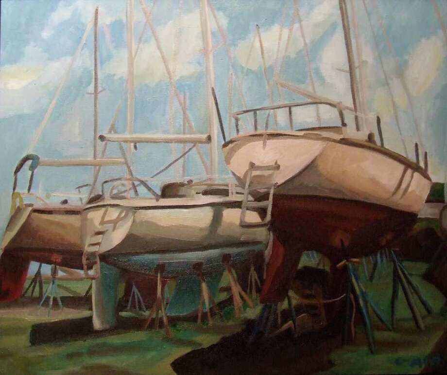 'Dry Dock 1,' by Chris Morris of Wappingers Falls, N.Y. is the first-place winner in the Stamford Art Association's 12th annual Vivian and Stanley Reed Marine Show, which runs through June 10. About 40 artists have created works inspired by the maritime theme. Photo: Contributed Photo / Stamford Advocate Contributed