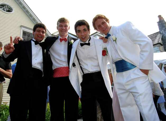 The boys are feeling rather dapper as well:  CJ Swift, Brian Tohir, Rory Shepard, and Kevin Macari. Photo: Jeanna Petersen Shepard / New Canaan News