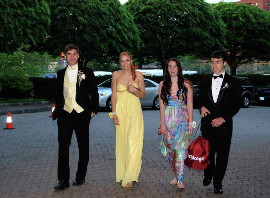 Chris Laird, Melissa Tweed, Katherine Stevenson, and Izzy Meckler arrive at the NCHS Senior Prom at the Stamford Marriott. Photo: Jeanna Petersen Shepard / New Canaan News