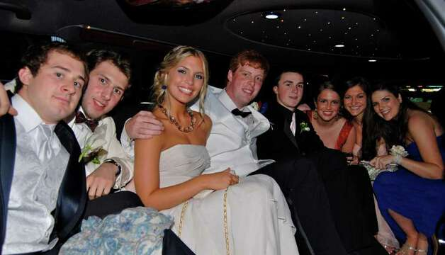 Inside the limo:  Jimmy Joe Granito, AT Terenzio, Julia Bemis, Jack Atchue, Henry Corcoran, Katy Powers, Anjelique Kyriakos, and Cassidy Dumbauld. Photo: Jeanna Petersen Shepard / New Canaan News