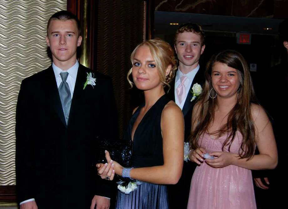 Anders Fagerstal, Stephanie Toth, Brandon Schumacher, and Christina Marder enter the lobby at the NCHS Senior Prom. Photo: Jeanna Petersen Shepard / New Canaan News