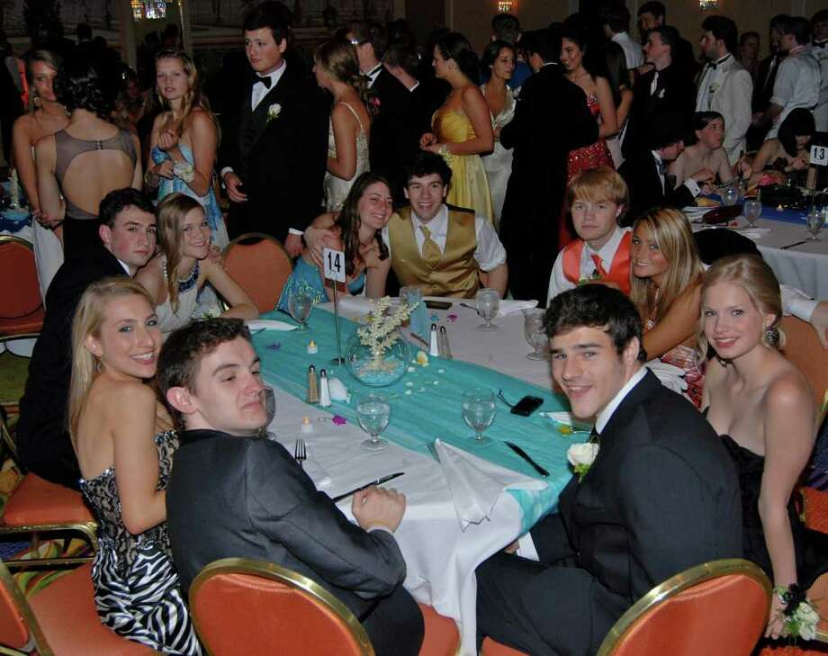 One of the tables at NCHS Senior Prom, waiting their turn for the buffet line. Photo: Jeanna Petersen Shepard / New Canaan News