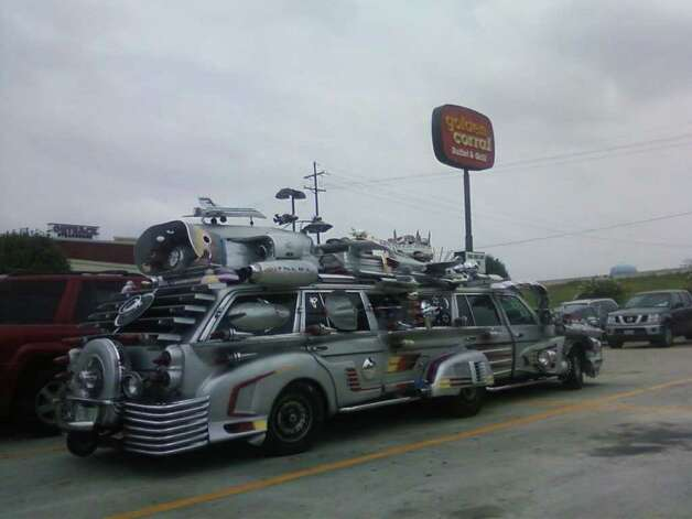Reader Ann Kendrick spotted this art car in Beaumont at the Golden Corral parking lot on Friday. Photo: Ann Kendrick