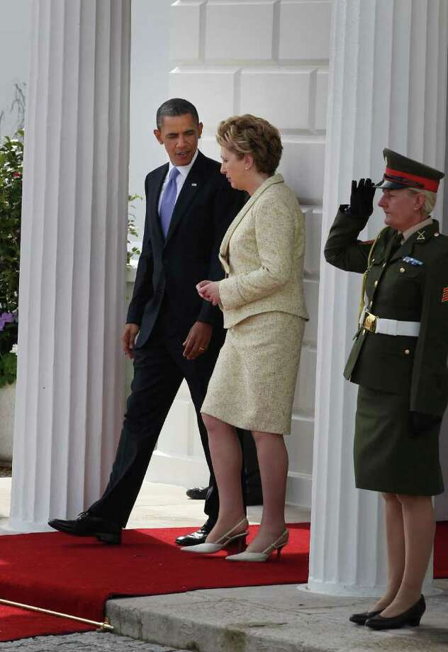 DUBLIN, IRELAND - MAY 23:  US President Barack Obama walks with President of Ireland Mary McAleese at Áras an Uachtaráin on May 23, 2011 in Dublin, Ireland. U.S. President Obama is visiting Ireland for one day. He will meet with distant relatives in Moneygall and speak at a rally in central Dublin after a concert.  (Photo by Peter Macdiarmid/Getty Images) Photo: Peter Macdiarmid, Getty Images / 2011 Getty Images