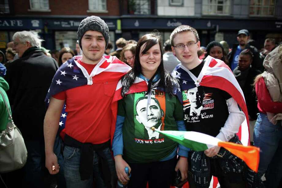 DUBLIN, IRELAND - MAY 23:  Youths wear Stars and Stripes as they wait for US President Obama on May 23, 2001 in Dublin, Ireland. U.S. President Obama is visiting Ireland for one day. He will meet with distant relatives in Moneygall and speak at a rally in central Dublin after a concert.  (Photo by Peter Macdiarmid/Getty Images) Photo: Peter Macdiarmid, Getty Images / 2011 Getty Images