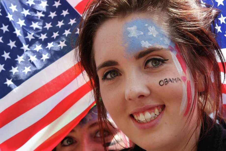 DUBLIN, IRELAND - MAY 23:  Girls wear Stars and Stripes face paint as they wait for US President Obama on May 23, 2001 in Dublin, Ireland. U.S. President Obama is visiting Ireland for one day. He will meet with distant relatives in Moneygall and speak at a rally in central Dublin after a concert.   (Photo by Peter Macdiarmid/Getty Images) Photo: Peter Macdiarmid, Getty Images / 2011 Getty Images