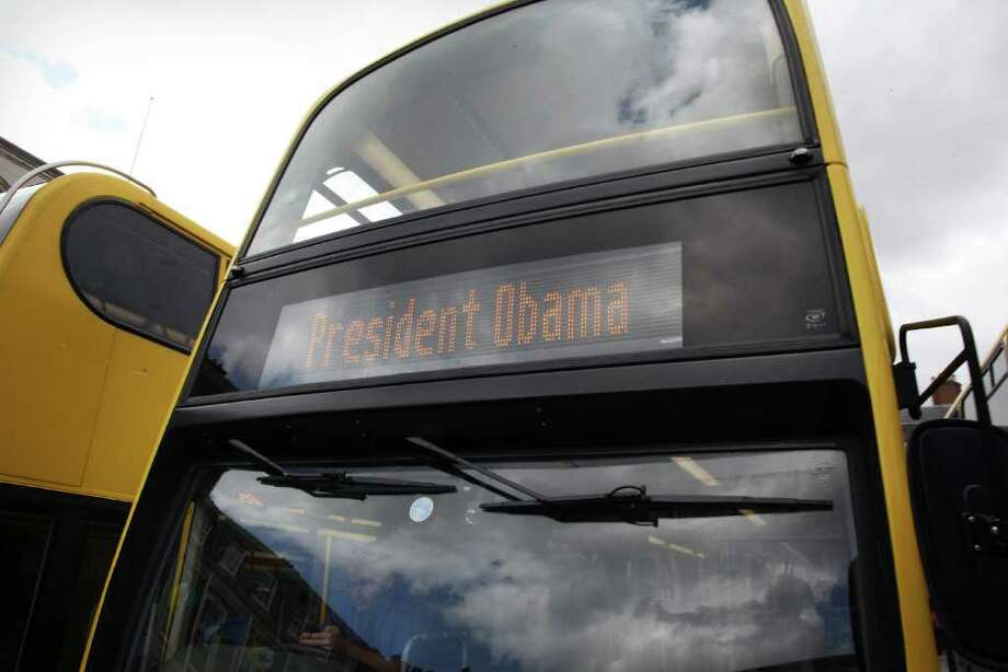 DUBLIN, IRELAND - MAY 23:  Buses hired to carry reporters show their destination as 'President Obama' on May 23, 2011 in Dublin, Ireland. U.S. President Obama is visiting Ireland for one day. Earlier he met with Irish President Mary McAleese, Taoiseach (Prime Minister) of Ireland Enda Kenny and visited his ancestral home in Moneygall, County Offaly.  (Photo by Peter Macdiarmid/Getty Images) Photo: Peter Macdiarmid, Getty Images / 2011 Getty Images