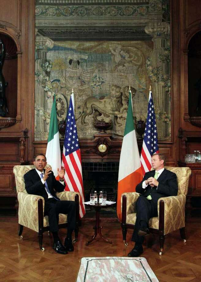 DUBLIN, IRELAND - MAY 23:  US President Barack Obama meets with Taoiseach Enda Kenny at Farmleigh, where the two held talks, on May 23, 2011 in Dublin, Ireland. U.S. President Obama is visiting Ireland for one day. He will meet with distant relatives in Moneygall and speak at a rally in central Dublin after a concert.   (Photo by Irish Government - Pool /Getty Images) Photo: Pool, Getty Images / 2011 Getty Images