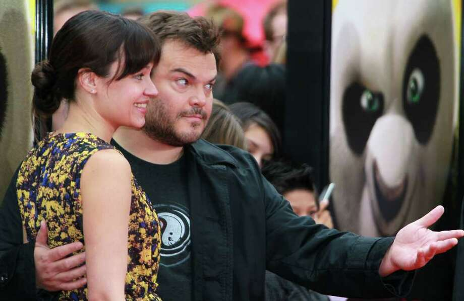"Actor Jack Black (R) and wife singer Tanya Haden attend the premiere of DreamWorks Animation's ""Kung Fu Panda 2"" at Mann's Chinese Theatre in Hollywood, California. Photo: David Livingston, Getty Images / 2011 Getty Images"