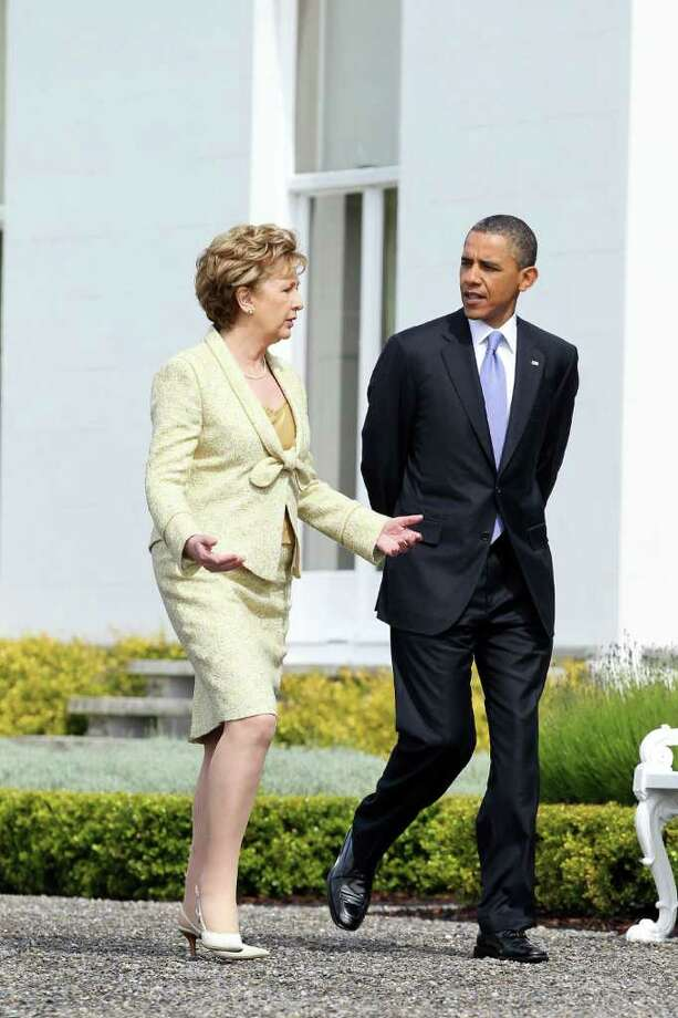 DUBLIN, IRELAND - MAY 23: U.S. President Barack Obama and Irish President Mary McAleese speak at Aras an Uachtarain, the official residence of the President of Ireland, May 23, 2011 in Dublin, Ireland.  Obama is visiting Ireland for one day. He will meet with distant relatives in Moneygall and speak at a rally in central Dublin after a concert.  (Photo by Irish Government - Pool /Getty Images) Photo: Pool, Getty Images / 2011 Getty Images