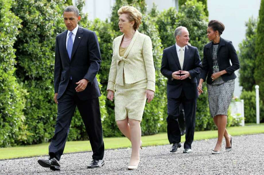 DUBLIN, IRELAND - MAY 23: U.S. President Barack Obama and Irish President Mary McAleese depart Aras an Uachtarain, the official residence of the President of Ireland, ahead of Dr. Martin McAleese and first lady Michelle Obama May 23, 2011 in Dublin, Ireland.  Obama is visiting Ireland for one day. He will meet with distant relatives in Moneygall and speak at a rally in central Dublin after a concert.  (Photo by Irish Government - Pool /Getty Images) Photo: Pool, Getty Images / 2011 Getty Images
