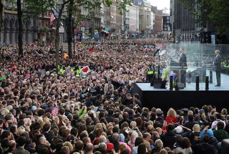 DUBLIN, IRELAND - MAY 23:  US President Barack Obama speaks at a rally in College Green on May 23, 2011 in Dublin, Ireland. U.S. President Obama is visiting Ireland for one day. Earlier he met with Irish President Mary McAleese, Taoiseach (Prime Minister) of Ireland Enda Kenny and visited his ancestral home  in Moneygall, County Offaly.   (Photo by Peter Macdiarmid/Getty Images) Photo: Peter Macdiarmid, Getty Images / 2011 Getty Images