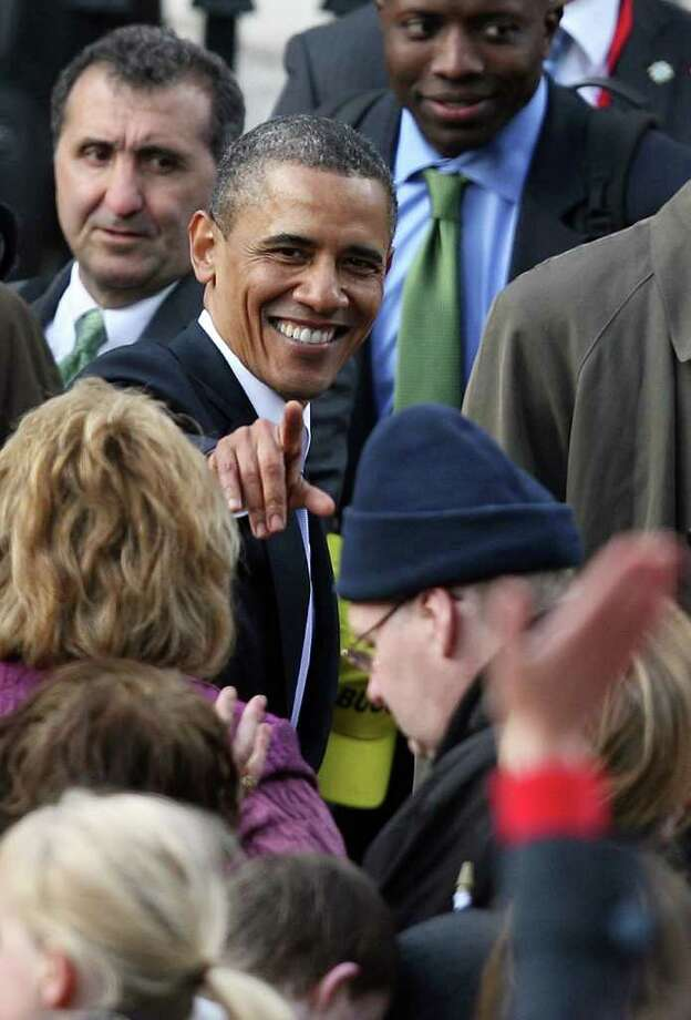 DUBLIN, IRELAND - MAY 23:  US President Barack Obama greets wellwishers after making a speech at College Green, on May 23, 2011 in Dublin, Ireland. U.S. President Obama is visiting Ireland for one day. Earlier he met with Irish President Mary McAleese, Taoiseach (Prime Minister) of Ireland Enda Kenny and visited his ancestral home  in Moneygall, County Offaly.   (Photo by Irish Government - Pool/Getty Images) Photo: Pool, Getty Images / 2011 Getty Images