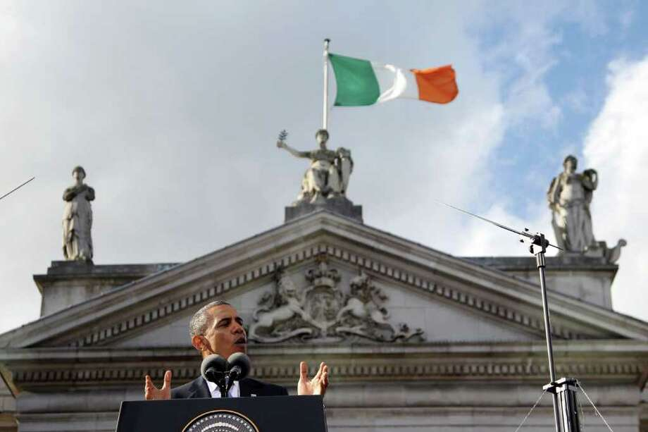 DUBLIN, IRELAND - MAY 23:  US President Barack Obama makes a speech at College Green, on May 23, 2011 in Dublin, Ireland. U.S. President Obama is visiting Ireland for one day. Earlier he met with Irish President Mary McAleese, Taoiseach (Prime Minister) of Ireland Enda Kenny and visited his ancestral home  in Moneygall, County Offaly.   (Photo by Irish Government - Pool/Getty Images) Photo: Pool, Getty Images / 2011 Getty Images