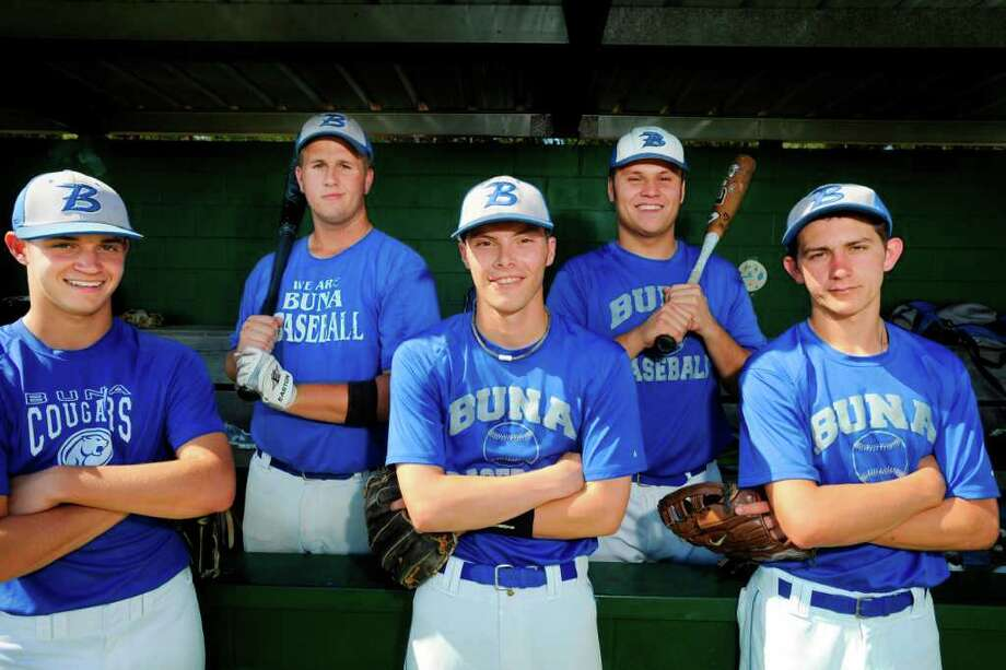 Buna baseball seniors, from left, Jacob Clark, Blake Hale, Kale Terrier, John Hawthorn, and Sawyer McCauley will face Central Heights on Friday in Jasper during the Class 2A regional quarterfinals. This is the furthest the team has gone since 2008 when Buna reached the 2A state semifinals. Tuesday, May 17  2011.  Valentino Mauricio/The Enterprise Photo: Valentino Mauricio