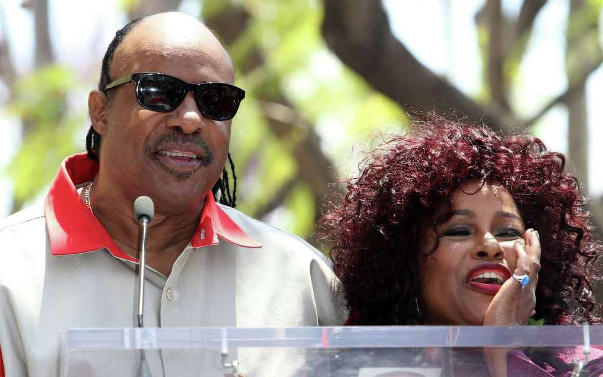 HOLLYWOOD, CA - MAY 19: Singers Stevie Wonder (L) and Chaka Khan (R)attend the Chaka Khan Hollywood Walk Of Fame Induction Ceremony on May 19, 2011 in Hollywood, California. (Photo by Valerie Macon/Getty Images)