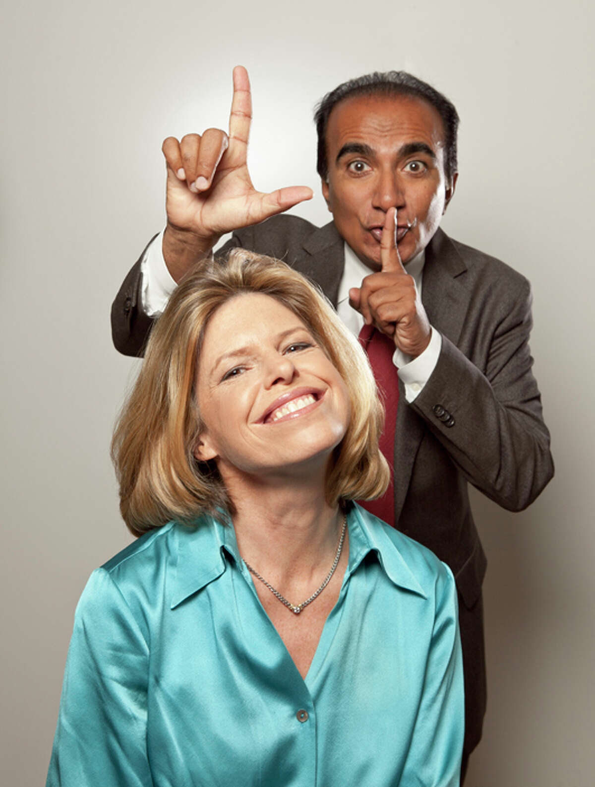 """Actor Iqbal Theba, who plays Principal Figgins on the hit TV show """"Glee,"""" with Jennifer Openshaw, founder of Greenwich-based SuperFutures which works with kids to help them decided what they want to be when they grow up. Theba is serving as the company's """"honorary principal"""" and spokesman."""