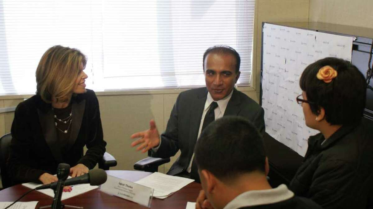 """Actor Iqbal Theba, who plays Principal Figgins on the hit TV show """"Glee,"""" speaks with students as the """"honorary principal"""" of Greenwich company SuperFutures, which works with kids to help them decide what they want to be when they grow up."""
