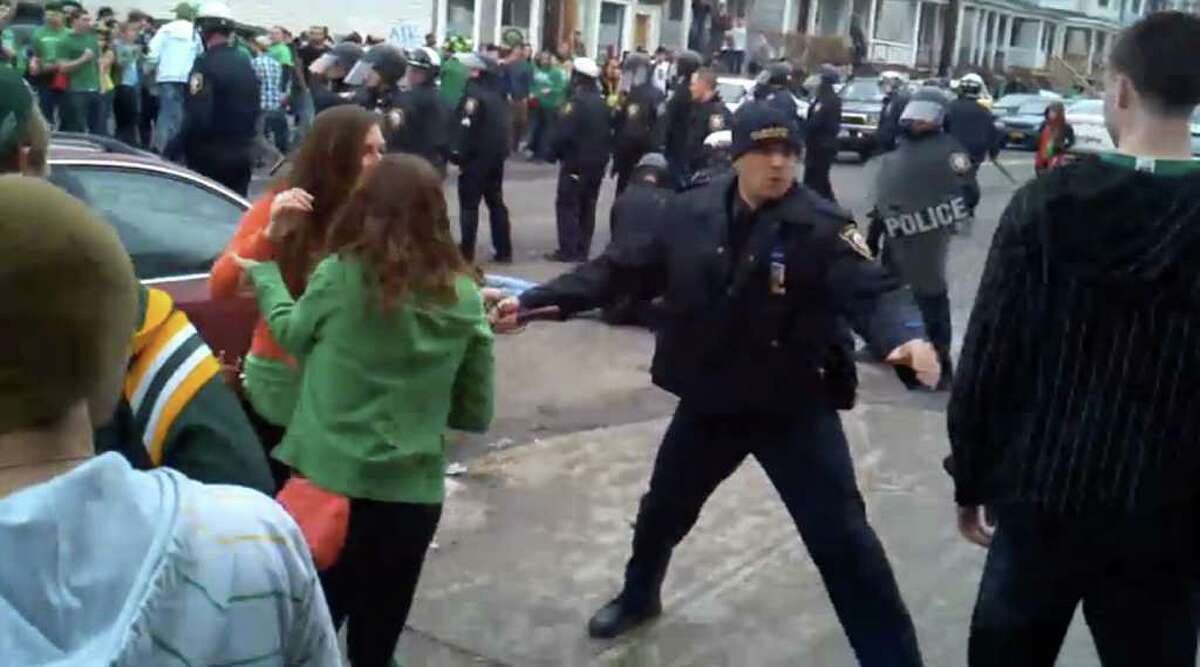Screen grab from YouTube video showing St. Patrick's Day riot in Albany, Saturday March 12 2011. (YouTube video/Times Union archive)