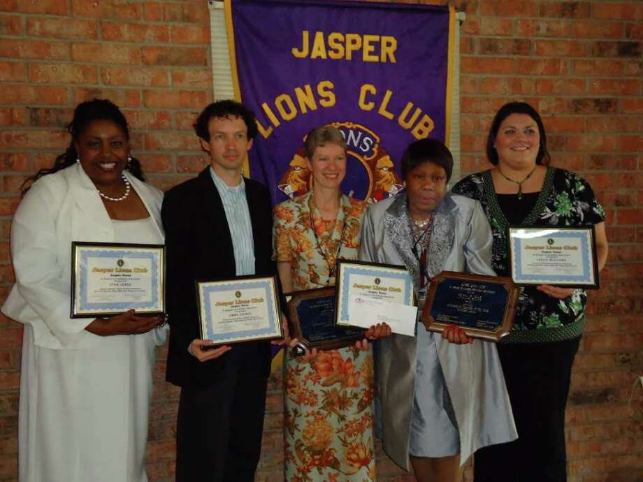 The Jasper Noon Lions honored the teachers of the year recently. Teachers nominated included, left to right, Lynn Jones, Jimmy Grimes, Elementary Educator of the Year Susan Wright, Secondary Teacher of Year Beverly Seale, and Leslie Williams. Photo: Jodie Warner