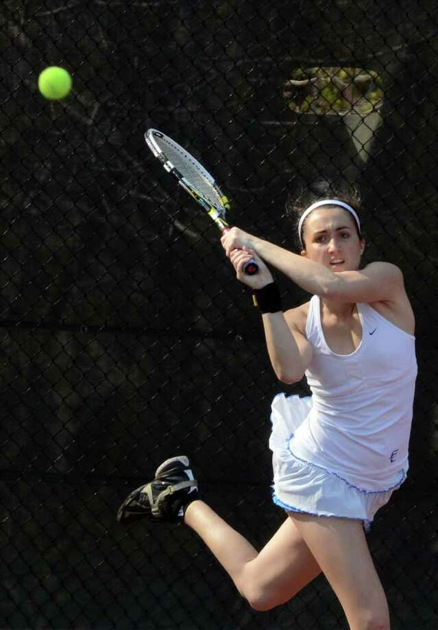 Fairfield Ludlowe's Alyssa McAndrew during the girls number one singles tennis match at Warde on Monday, Apr. 25, 2011. Photo: Amy Mortensen / Connecticut Post
