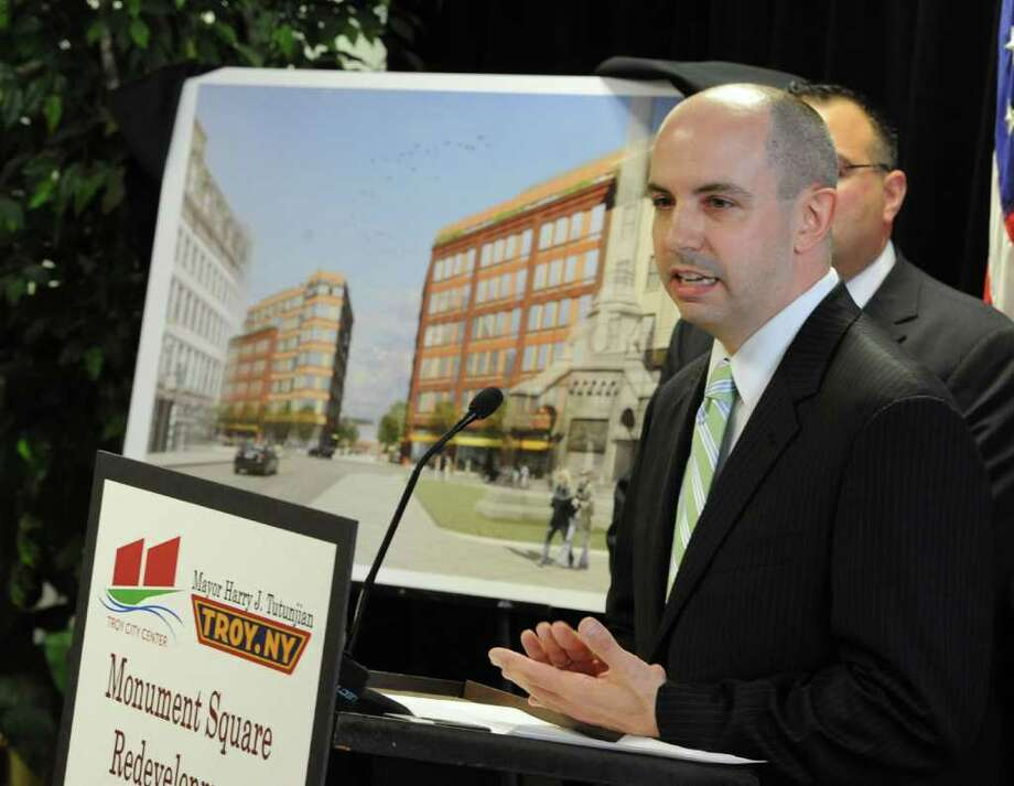 Christopher Cirillo, vice president of Richman Development Corpration, speaks about his company's involvement in the redevelopment of Monument Square in Troy, N.Y. May 24, 2011.  The cost of the project is $31.5 million. It is expected to bring in 290 jobs and create 106 apartments with over 10,000 square feet of retail space and 5,000 square feet of restaurant space.  (Skip Dickstein / Times Union) Photo: SKIP DICKSTEIN / 2008