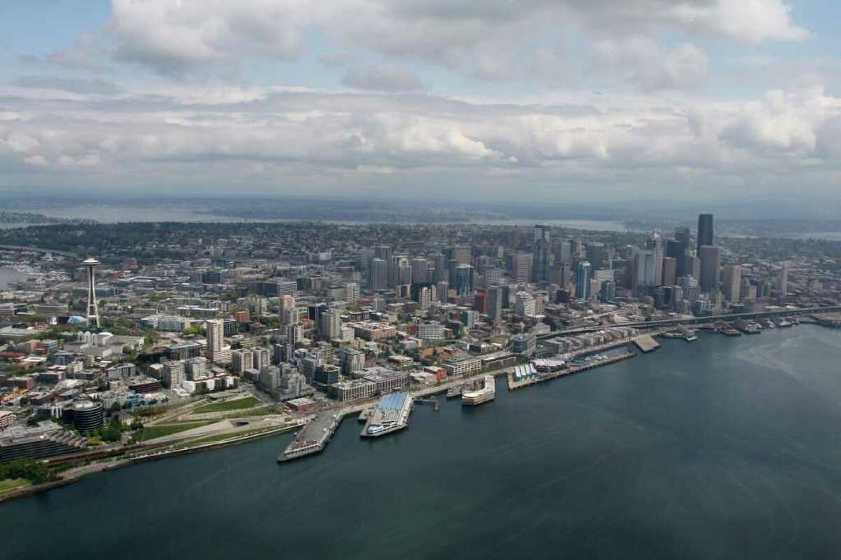 A view of the Seattle skyline over Elliott Bay from the WWII era B-17 aircraft named the