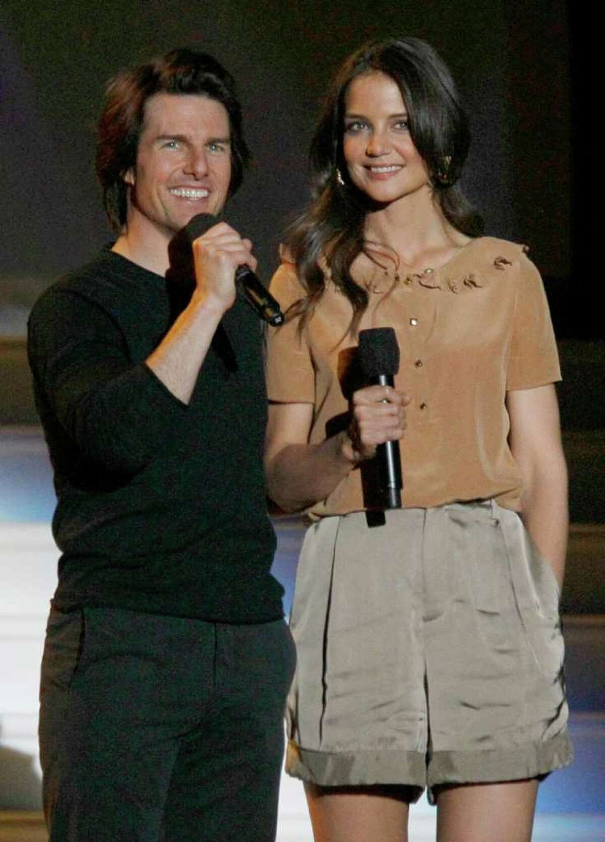 Tom Cruise and Katie Holmes appear together during a star-studded double-taping of