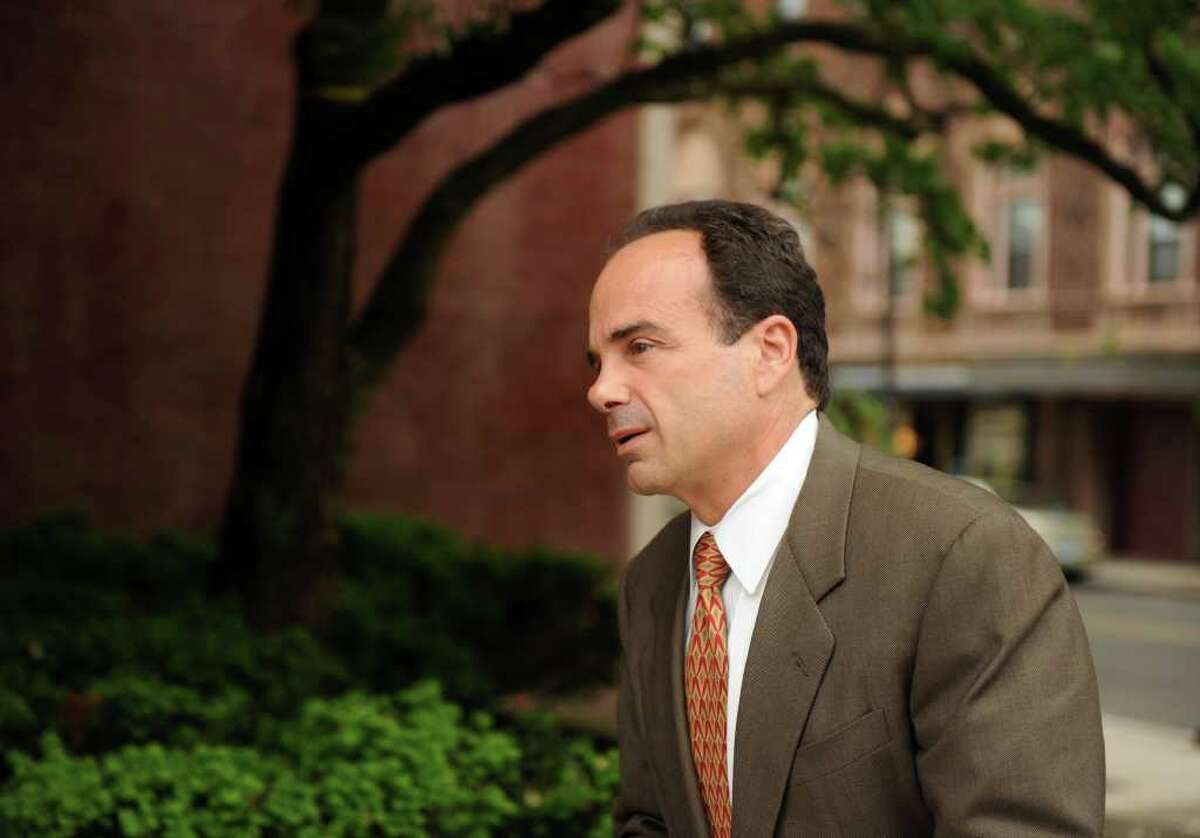 Former Bridgeport Mayor Joseph Ganim enters Superior Court Tuesday, May 24, 2011 to attend a hearing to regain his law license.