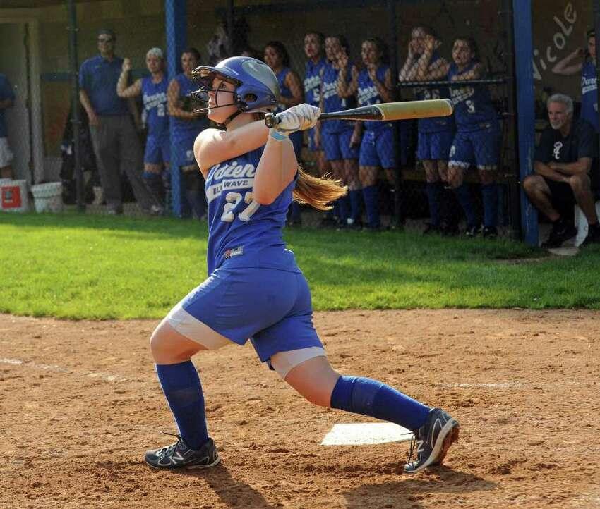 Highlights from girls FCIAC softball quarterfinals between Fairfield Warde and Darien in Darien on Tuesday May 24, 2011. Darien's #27 Kelly Fahey at bat.