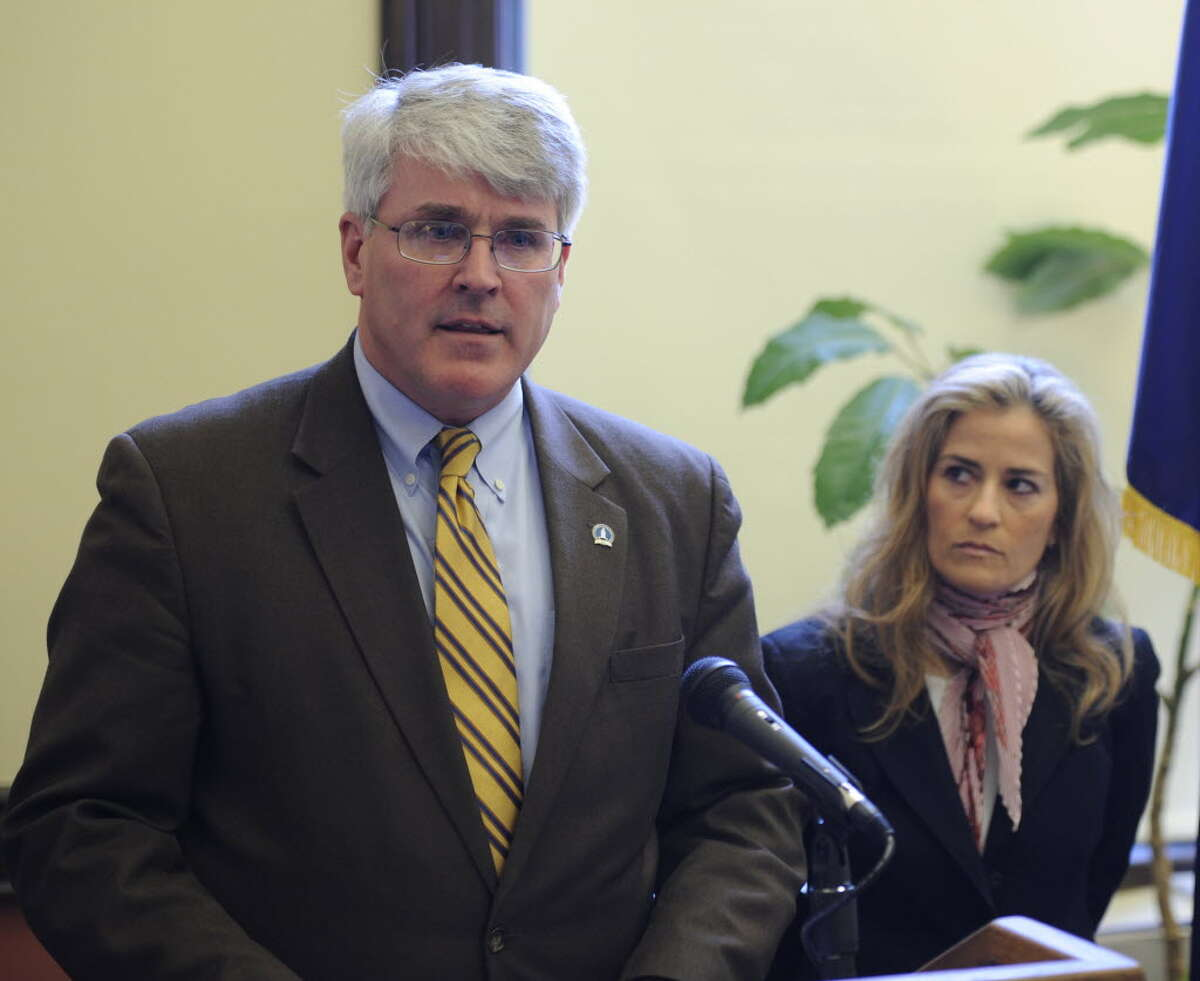 Rensselaer County District Attorney Richard McNally at an April news conference. (Skip Dickstein / Times Union)