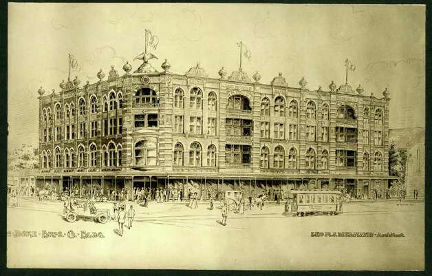 An architectural drawing at the Daughters of the Republic of Texas Library from the Leo M.J. Dielmann papers, 1847-1961, shows an early image of Joske's. In the drawing, an eagle adorns a flagpole above the main entrance. Photo: Courtesy Of The DRT Library