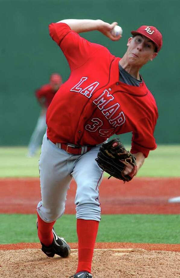 Lamar's Blake Ford pitches during the game against Northwestern State at Lamar University in Beaumont, Saturday. Tammy McKinley/The Enterprise Photo: TAMMY MCKINLEY / Beaumont