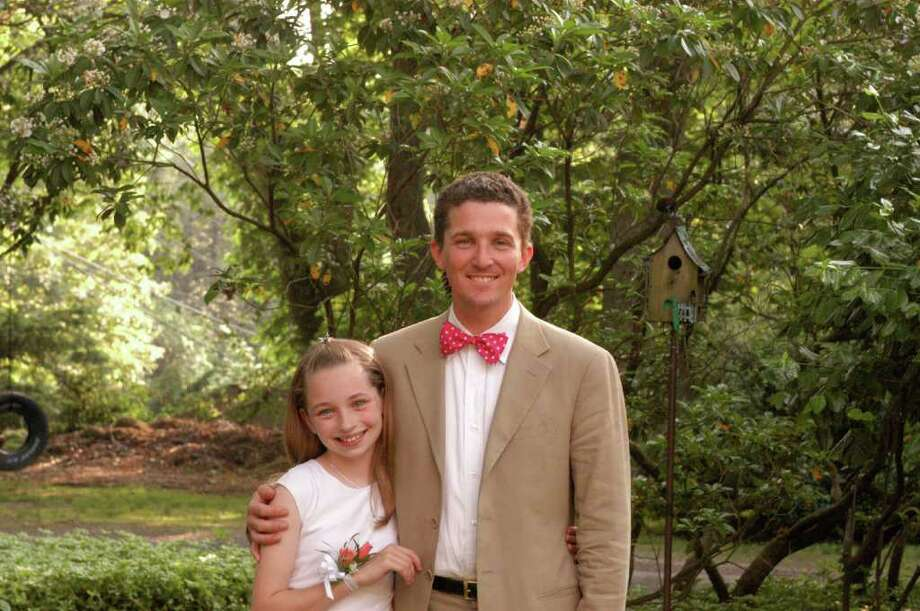 John Engel, shown here with his daughter Lillian, will run for the Board of Selectmen this year. Photo: Contributed Photo / New Canaan News