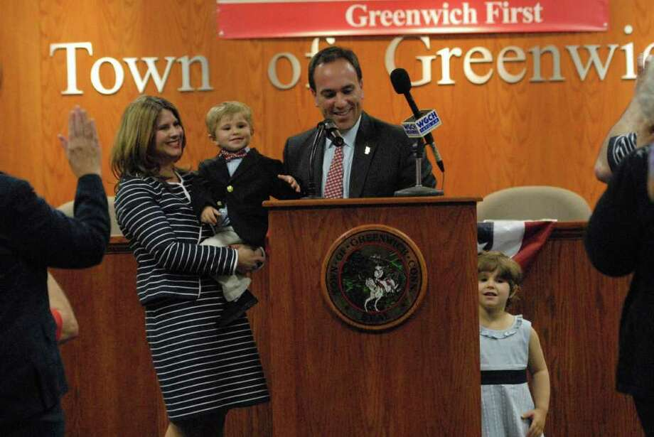 Incumbent First Selectman Peter Tesei, a Republican, surrounded by his family, his wife Jill, son James, 2, and daughter Caroline, 4, officially launched his re-election campaign Wednesday, May 25, 2011, at Town Hall. Photo: John Ferris Robben / Greenwich Time