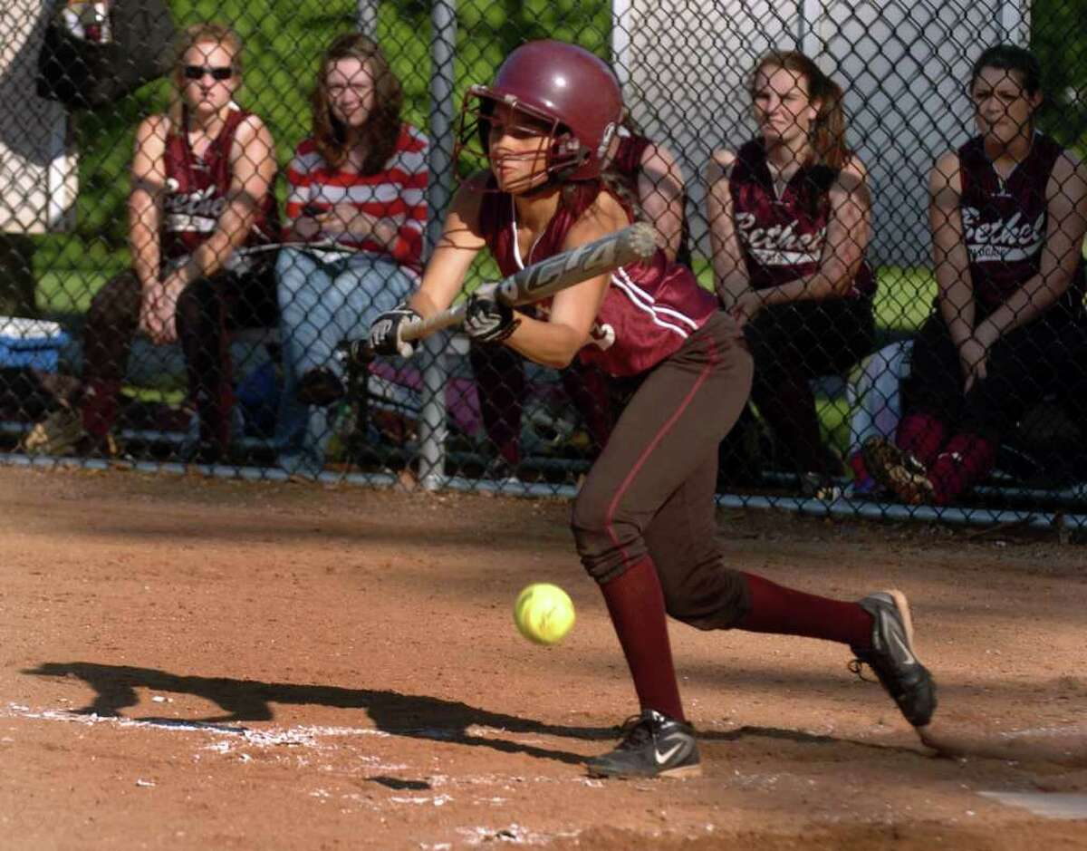 Highlights from SWC girls softball quarterfinal action between Lauralton Hall and Bethel in Milford, Conn. on Wednesday May 25, 2011. Bethel's #9 Alyssa Martinez.