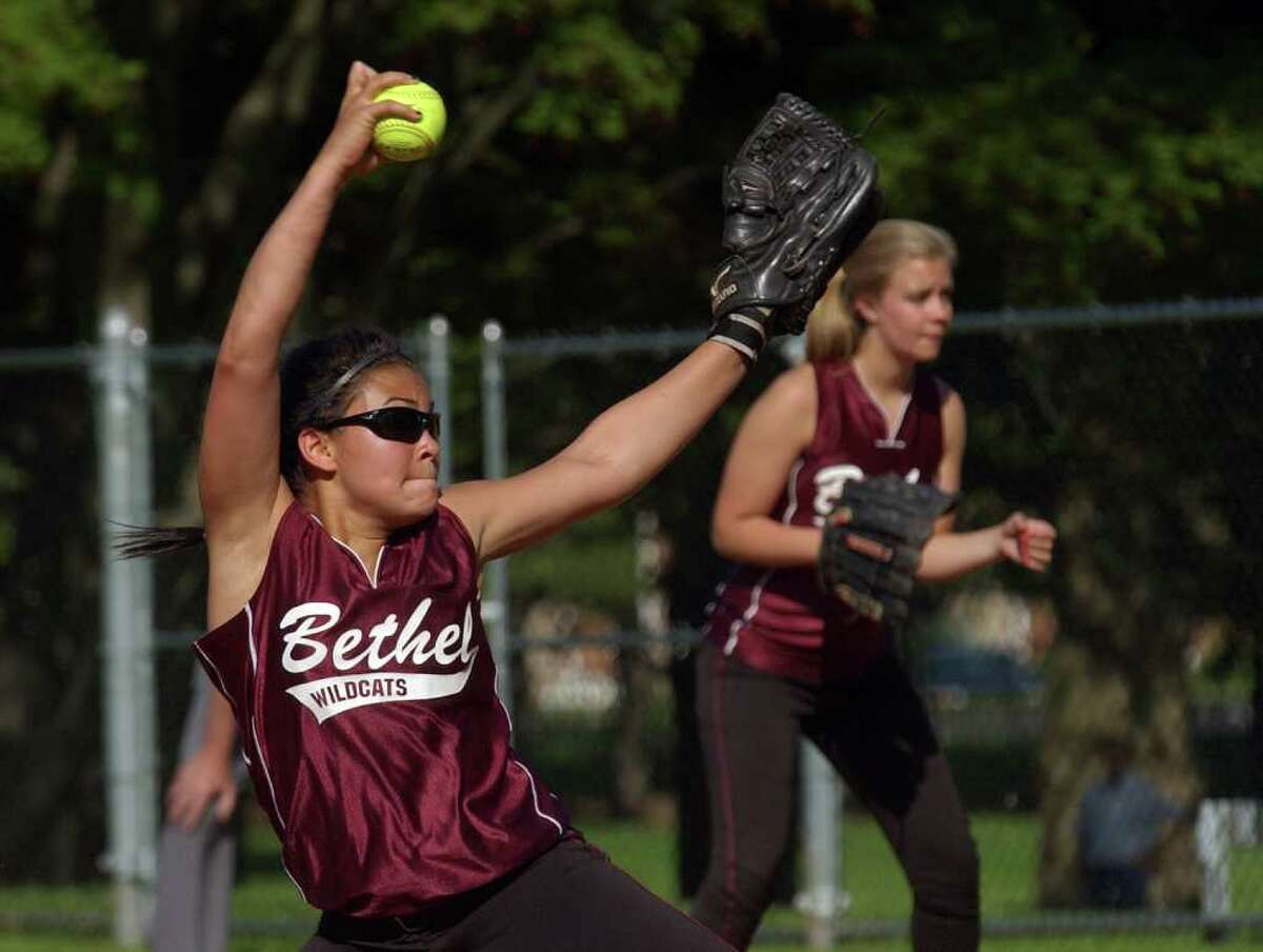 Highlights from SWC girls softball quarterfinal action between Lauralton Hall and Bethel in Milford, Conn. on Wednesday May 25, 2011. Bethel's #8 Sen Evaristo.