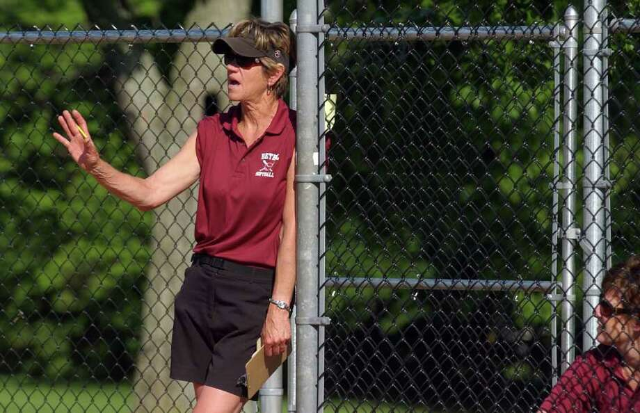 Highlights from SWC girls softball quarterfinal action between Lauralton Hall and Bethel in Milford, Conn. on Wednesday May 25, 2011. Bethel's Head Coach Lynn Fenn. Photo: Christian Abraham / Connecticut Post